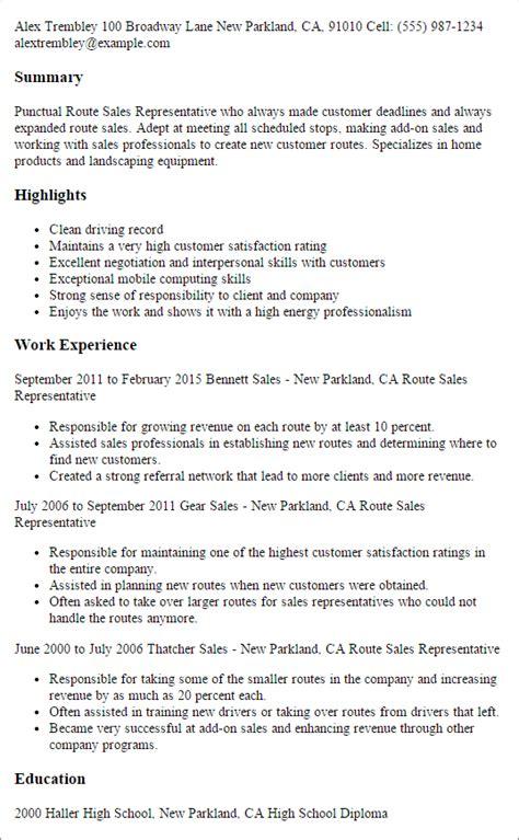professional route sales representative templates to