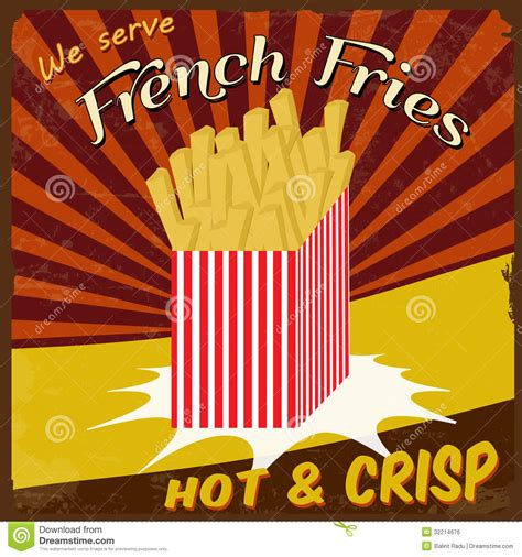 affiche cuisine vintage fries vintage poster royalty free stock image