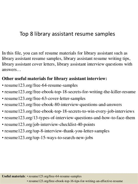 Curriculum Vitae Library Assistant by Top 8 Library Assistant Resume Sles