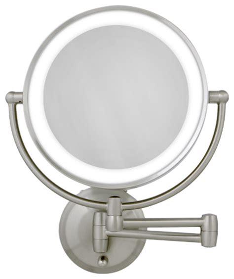 10x 1x satin nickel led lighted wall mirror modern