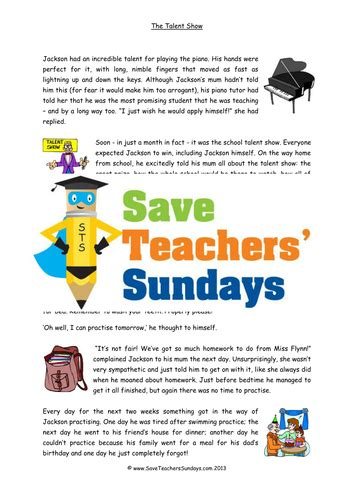 year 3 4 short story comprehension lesson plan text and worksheets 1 by saveteacherssundays