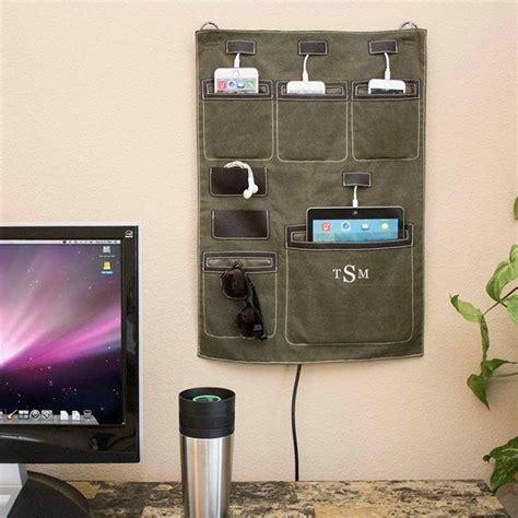 charging station organizer  wall  waxed canvas