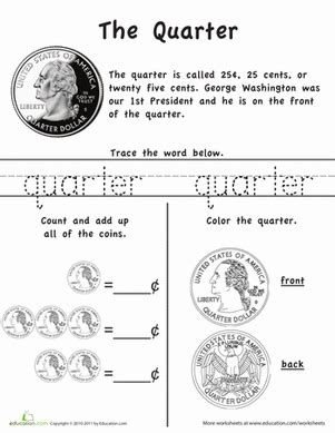 learn the coins the quarter worksheet education