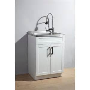 simpli home utility laundry sink with cabinet