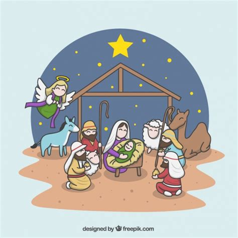 presepe clipart cheerful illustration of the nativity vector free