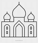 Simple Taj Mahal Drawing Masjid Kartun Coloring Gambar sketch template