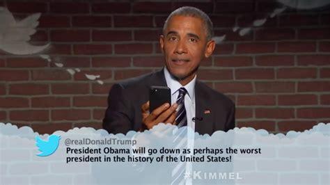 obama barack tweets trump donald mean slams kimmel