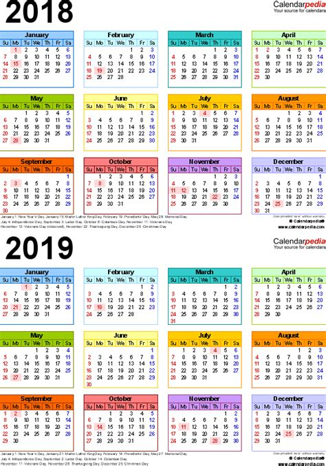 2018 2019 school calendar template 2018 2019 calendar free printable two year pdf calendars