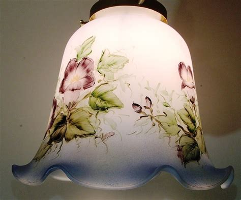 hand painted l shades hand painted art glass lamp shade blue rim posy flowers ebay
