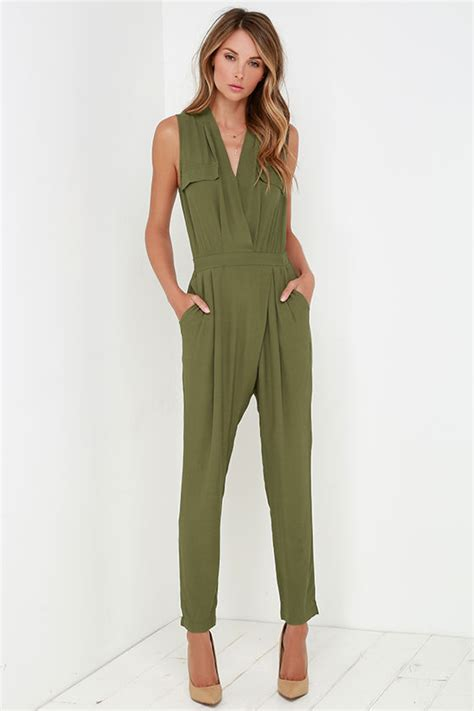 Stylish Olive Green Jumpsuit - Sleeveless Jumpsuit - Olive Green Romper - $54.00