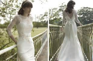 vintage style wedding dresses lace vintage inspired wedding dress allin lace illusion neckline and sleeves onewed