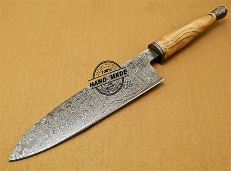made kitchen knives damascus chef knife custom handmade damascus kitchen chef