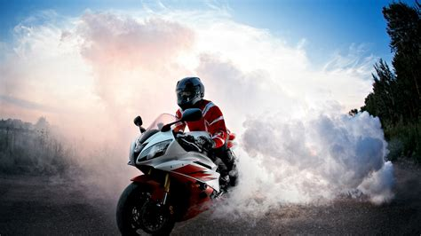 Wallpaper Biker, Burnout, Smoke, Hd, 4k, Automotive