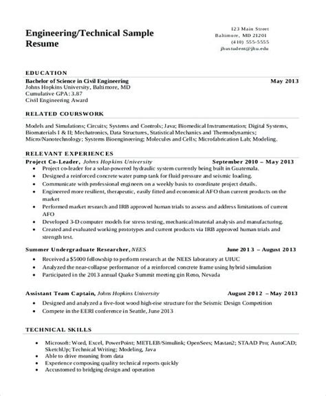 Software To Make Resume by Technical Engineering Resume Software Engineering