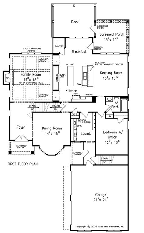 Frank Betz Summerlake Floor Plan by Ansley Cottage House Floor Plan Frank Betz Associates