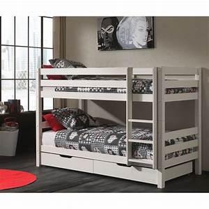 Lit Superposé Enfant : lit superpos 2 tiroirs de lit enfant pino blanc ~ Teatrodelosmanantiales.com Idées de Décoration
