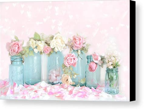 shabby chic canvas prints dreamy shabby chic pink white roses vintage aqua teal ball jars romantic floral roses canvas
