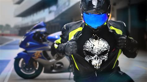 suzuki hayabusa rider wearing punisher  shirt hd bikes