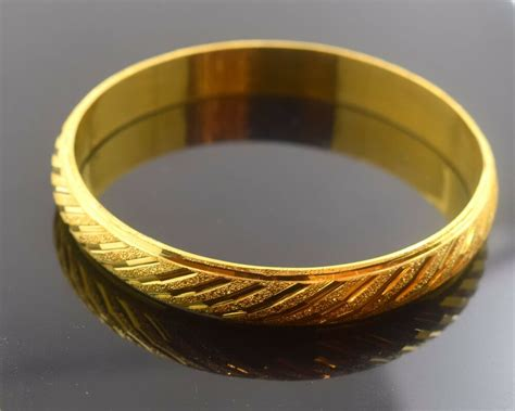 22k solid gold elegant women bangle bracelet size 2 5 inch b309 modern design ebay