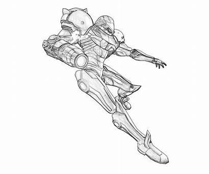 Coloring Samus Aran Robot Metroid Pages Suit