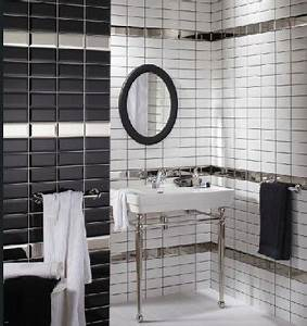 salle de bain noir et blanc c39est la tendance deco deco cool With carrelage salle de bain noir brillant