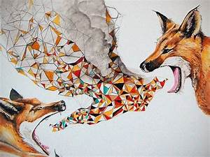 Smoke Signals, Fox, Modern Print, contemporary, wall art ...