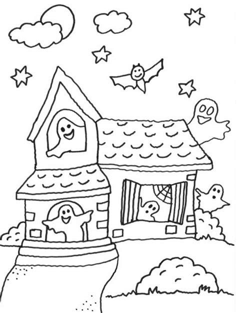 kostenlose malvorlage halloween geisterhaus zum ausmalen