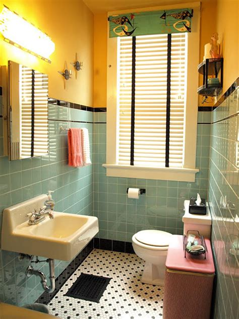 1940s bathroom design kristen and paul 39 s 1940s style aqua and black tile