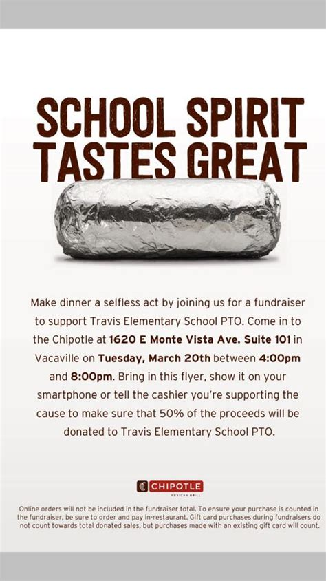 Chipotle Vacaville by Travis Elementary Pto News Events