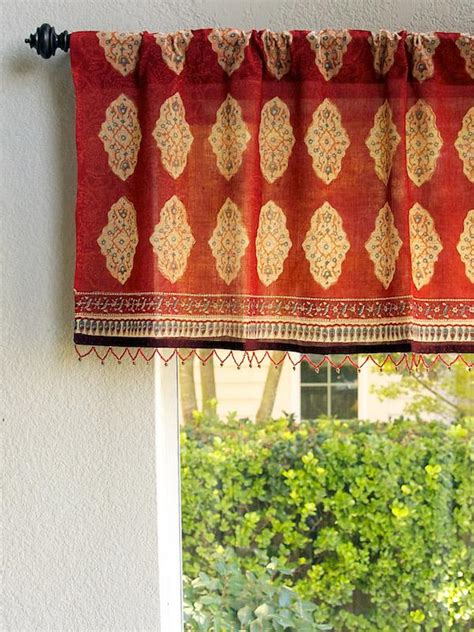 red orange window valance moroccan indian beaded valance