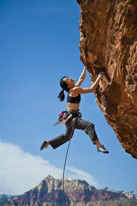 Rock Climber Clinging Cliff Stock Photo Image