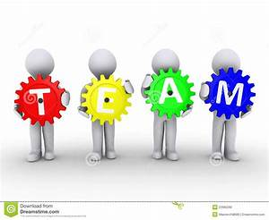 Four People With Cogs That Spell TEAM Stock Photo - Image ...