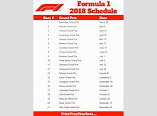 Printable Formula 1 Schedule F1 Race Dates 2018