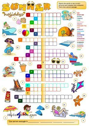 Summer holidays - CROSSWORD | Holiday worksheets, Summer ...