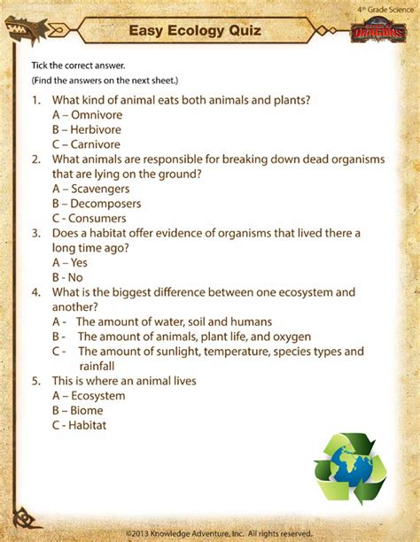 Easy Ecology Quiz View  4th Grade Science Worksheets  School Of Dragons