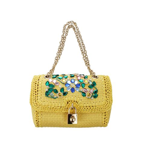 lyst dolce gabbana jewel embroidered raffia bag  yellow