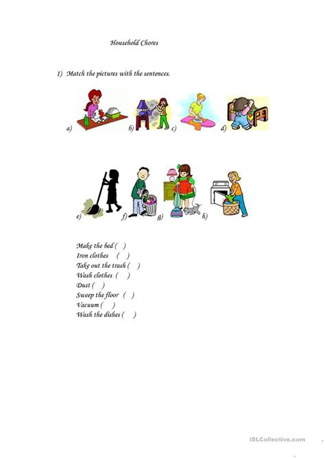 household chores worksheet  esl printable worksheets