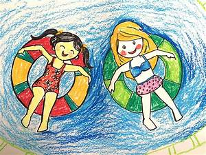 Painting summer for kids | How to draw a swimming pool ...