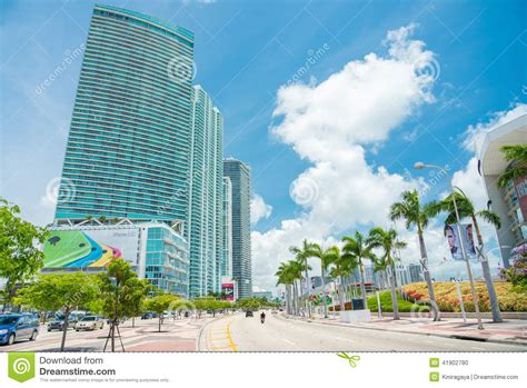 Usa Tile Biscayne Blvd by Skyscrapers And Traffic In Downtown Miami Editorial Image