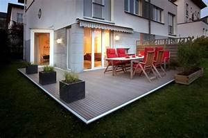 wpc terrassendielen terrassen aus wpc holz ziller With feuerstelle garten mit wpc fliesen verlegen balkon