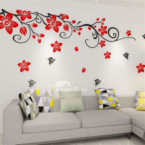wall decor adhesive flower wall decals acrylic 3d self adhesive living room