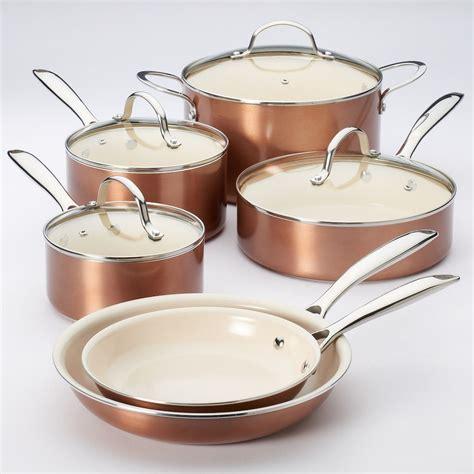 food network  pc nonstick ceramic copper cookware set kohls ceramic cookware set copper
