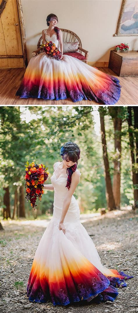 dyed wedding dresses bring color   special day