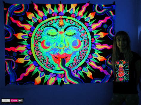quot rainbow sun quot uv blacklight fluorescent glow psychedelic