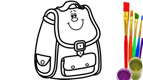 draw school bag  kids coloring pages