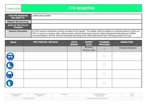 ppe personal protective equipment register individual