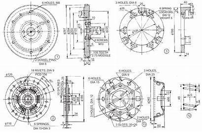 Clutch Drawings Plate Single 2d Drawing Mechanical