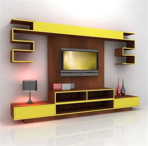 tv rack design furniture contemporary yellow mixed brown wooden tv stand cabinet and wall panel combined with
