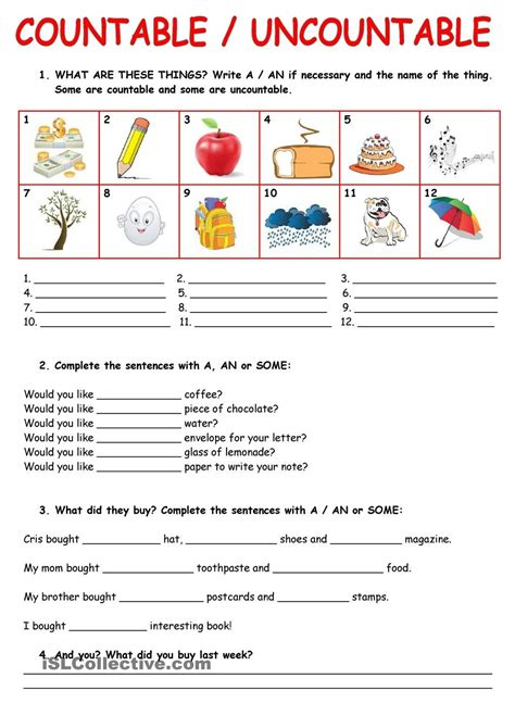 Countableuncountable Nouns  Imprimibles  Pinterest  English, Worksheets And English Class