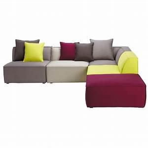 Canapé D Angle Modulable : canap d 39 angle modulable 5 places en coton multicolore ~ Melissatoandfro.com Idées de Décoration
